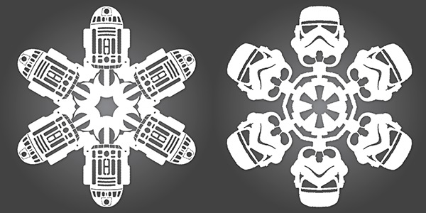 Star Wars R2-D2 and Stormtrooper Snowflakes