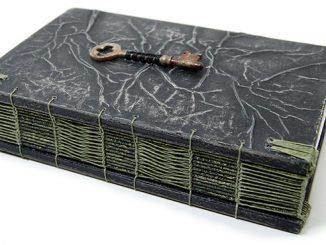 Steampunk Handmade Wooden Journal With Antique Skeleton Key
