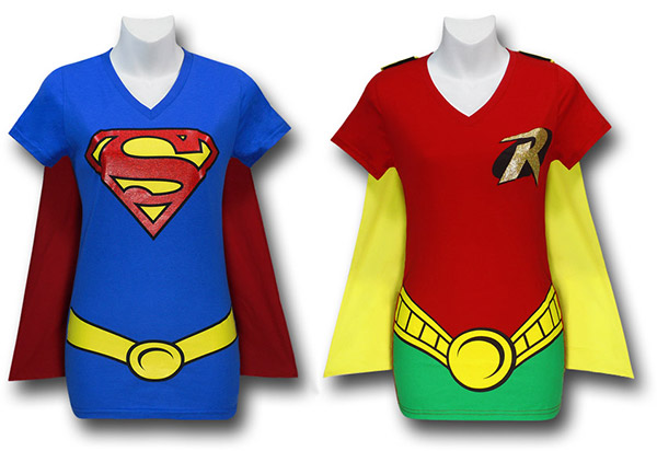 Supergirl and Robin Caped Costume T-Shirts