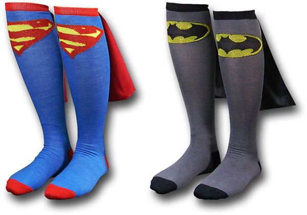 Superman and Batman Cape Socks