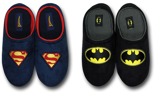 Superman and Batman Fleece Slippers