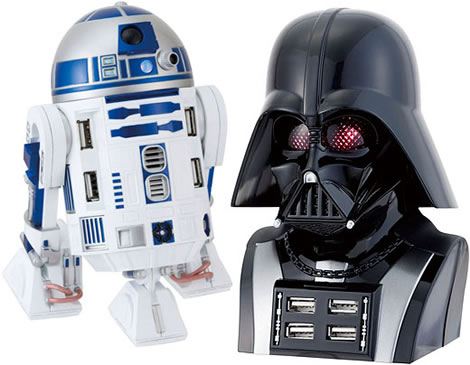 R2-D2 and Darth Vader USB Hubs