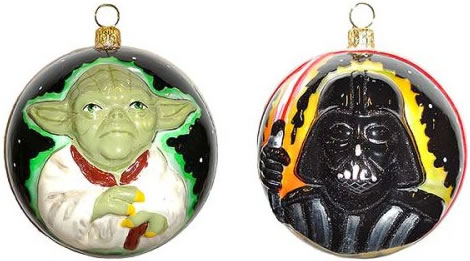 Yoda & Darth Vader Polonaise Glass Christmas Ornament