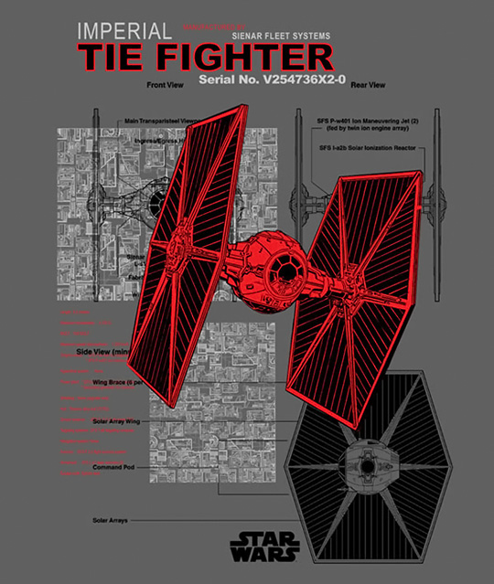 Imperial TIE Fighter Schematic T-Shirt