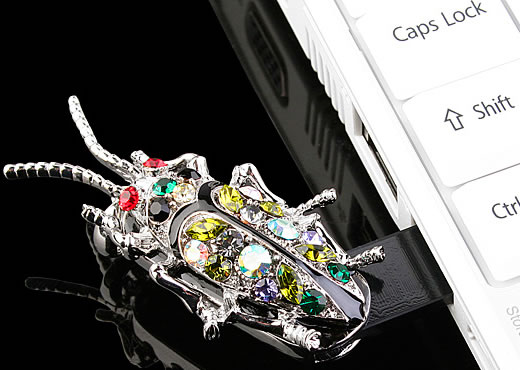 USB Jewel Bug Necklace Flash Drive