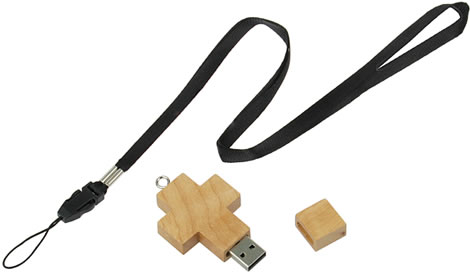 Wooden Cross USB Memory Strap