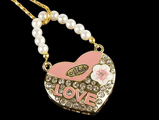 USB Jewel Love Heart Necklace Flash Drive