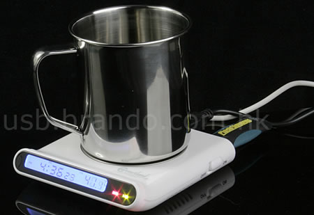 USB Cup Warmer with USB Hub and Clock