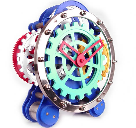 Visible Dual Gear Gadget Clock