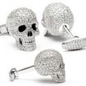 white gold and white diamonds Skull Cufflinks