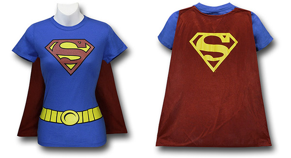 Womens Supergirl Cape T-Shirt Costume