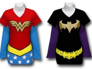 Wonder Woman and Batgirl Caped Costume T-Shirts
