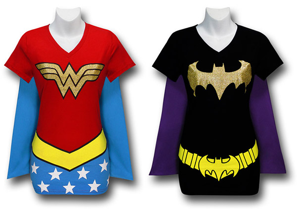 Wonder Woman and Batgirl Caped Costume T-Shirts