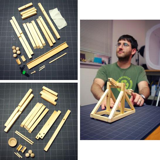 wooden trebuchet and catapult