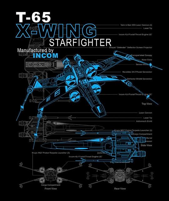 T-65 X-wing Starfighter Schematic T-Shirt
